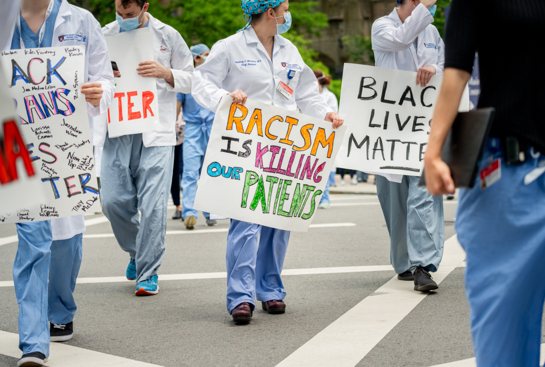white coats 4 black lives protest