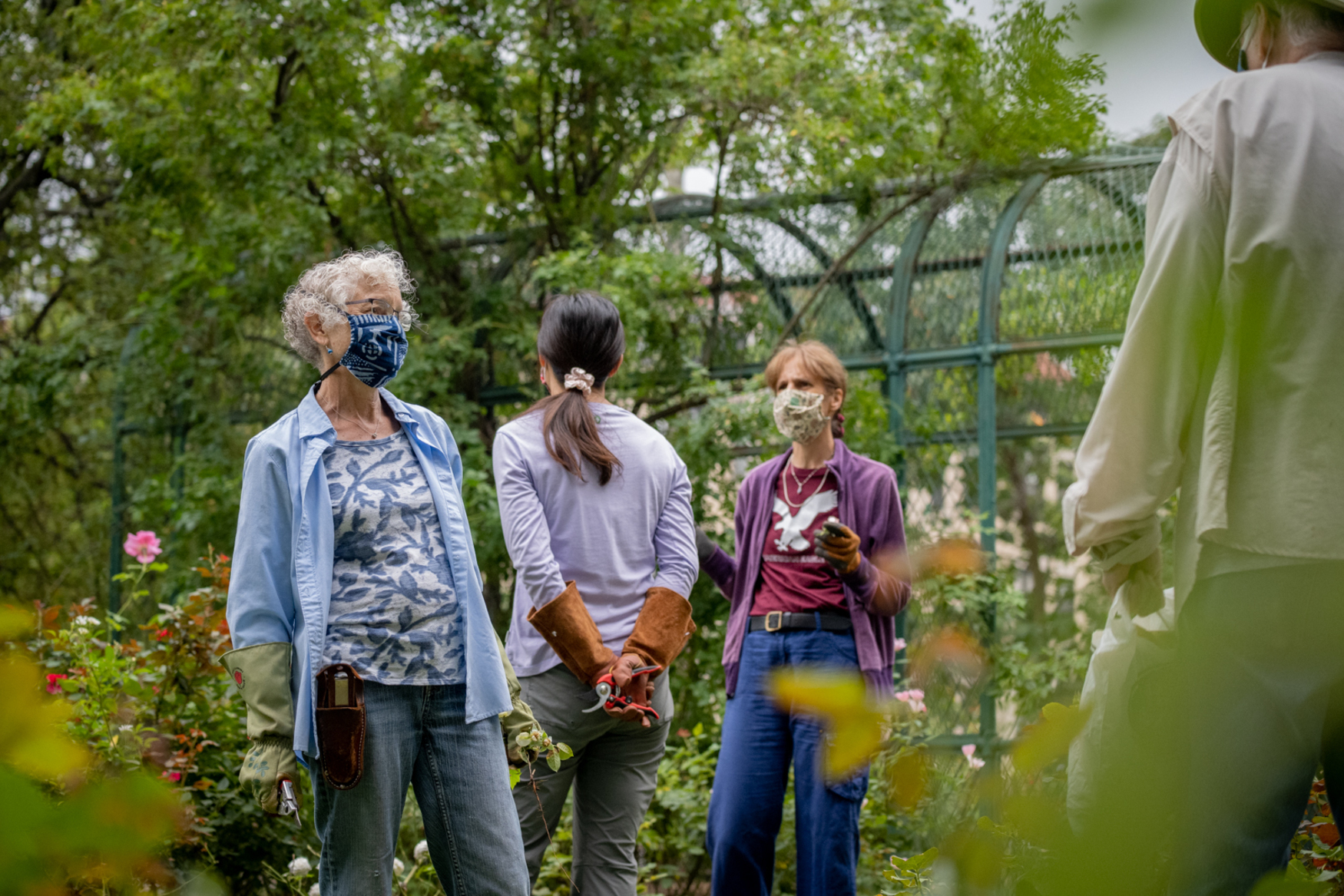 gardeners with masks on