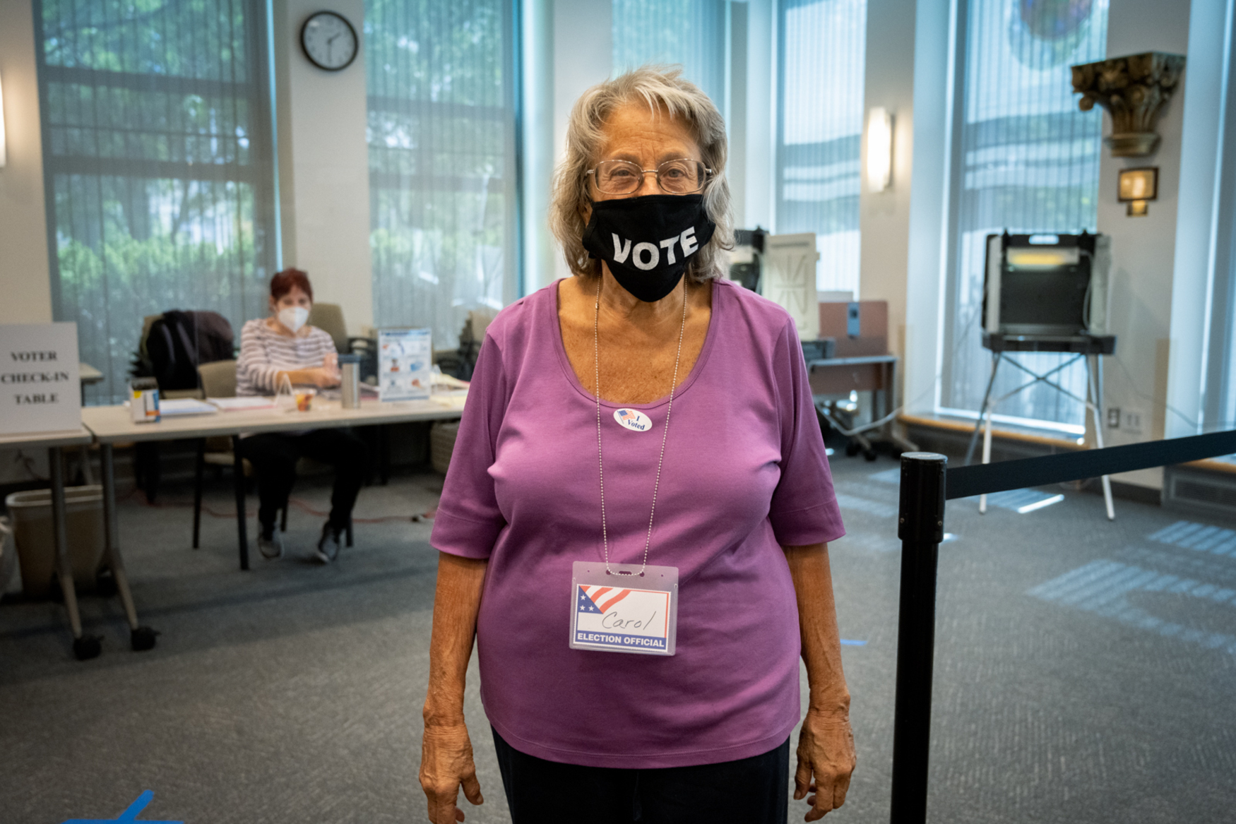poll worker with vote mask